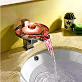 Black Menba Color Changing LED Waterfall Round Faucet /Tap (Chrome Finish)