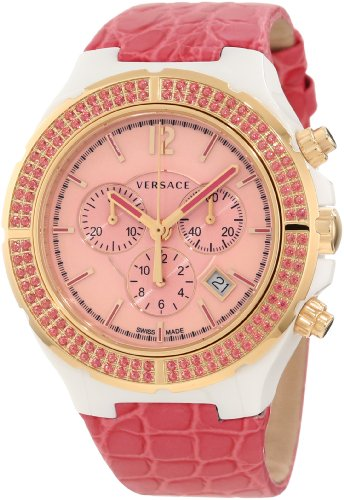 Versace Women's 28CCP15D111 S111 Dv One Cruise Rose Gold IP Pink Topaz Pavé Chronograph Watch
