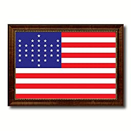 Union Civil War 33 Stars Military Flag Canvas Print Designed Patriotic Art Collection Interior Design Shabby Cottage Chic Americana Gift Ideas Wall Art Home Office Décor