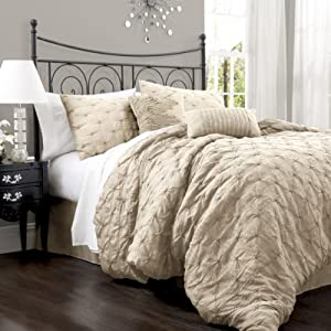 Lush Decor Lake Como 4-Piece Comforter Set, California King, Taupe