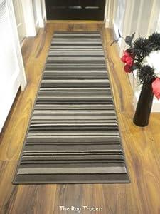 Modern Stripe Rug Grey Black Hall Runner 60cm x 220cm