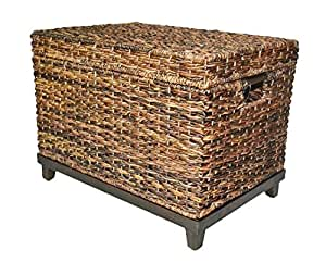 Brown Wicker Storage Trunk Coffee Table Kitchen Dining