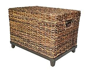 Brown Wicker Storage Trunk Coffee Table Kitchen
