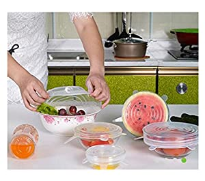 Kuke Silicone FDA Reusable Stretch Lids Food Storage Suction Cover Dishwasher and Freezer Safe Containers Lids