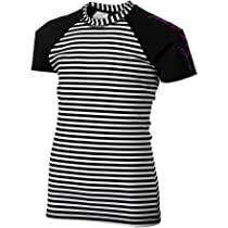 Hurley Girls 7-16 Surfside Stripe Rashguard, Black, Large