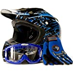 Adult Motocross Helmet Gloves & Goggles ATV Dirt Bike Motorcycle Blue, X-Large