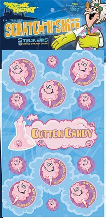 Dr Stinky's COTTON CANDY Scratch-n-Sniff Stickers, 2 sheets 4 x 6 3/4, 26 stickers