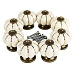Pumpkin Ceramic Drawer Knobs, YIFAN Set of 10 Cabinet Pulls Dresser Cupboard Door Handles - White
