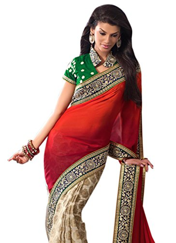 Aasri Women Georgette Designer Wedding Saree with Blouse Piece