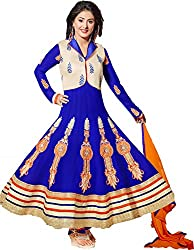 Shayona Enterprise Women's Brocade & Georgette Unstitched Dress Material (hz2-54005_Blue_Free Size)