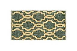 Kapaqua Rubber Backed Mat Fancy Moroccan Trellis Teal Blue & Beige Doormat Accent Non-Slip Rug, 18\