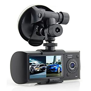 "R300 2.7"" 140° Dual Lens Dash Board Camera Car HD DVR Black Box Video Recorder + GPS Logger by Crystalcity-6662"