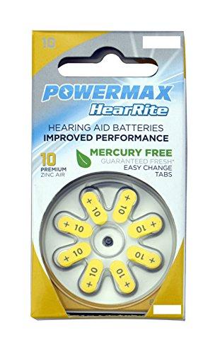 Powermax HearRite Zinc Air Mercury-Free Hearing Aid Batteries, Size 10
