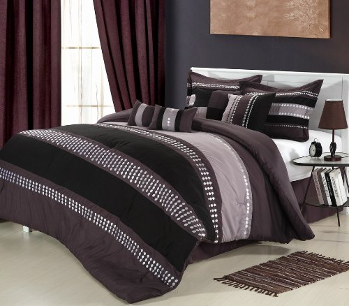 Chic Home Castle Rock 8-Piece Comforter Set, King, Plum front-950557