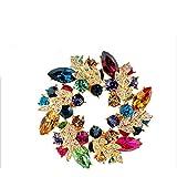 EQLEF® 1 piezas joyas de moda colorido de lujo Rhinestone Bling Bauhinia broche de la flor del Pin