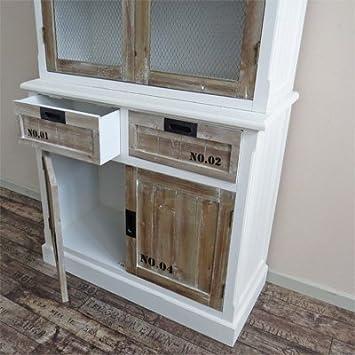 k chenschrank wohnzimmerschrank numbers im shabby look kommode holz wei braun im landhausstil. Black Bedroom Furniture Sets. Home Design Ideas