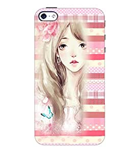 PrintDhaba Cute Girl D-3809 Back Case Cover for APPLE IPHONE 5 (Multi-Coloured)