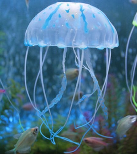 Liroyal Blue Glowing Effect Artificial Fake Jellyfish For Aquarium Decor & Home Fish Tank Decoration Ornament