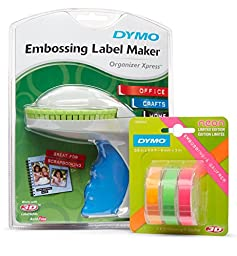 DYMO Organizer Xpress Embossing Label Maker with 3 Bonus Neon Embossing Labels, 3/8-In. x 9.8-Ft. Rolls