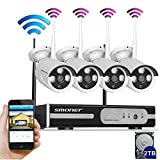 Full-HDSmonet-4CH-1080P-HD-Wireless-NetworkIP-Security-Camera-SystemWIFI-NVR-Kits4PCS-20-Megapixel-Wireless-IndoorOutdoor-Bullet-IP-CamerasP2PSuperior-Night-Vision2TB-HDD-Pre-installed