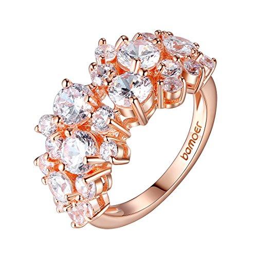 Bamoer Popular Lover Finger Rings Women 18K Rose Gold Plated Brass Jewelry (8)