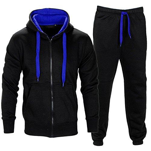 Da uomo Contrasto Corda in pile con cappuccio Top Pantaloni Palestra Jogging Set Tuta Black/Blue M