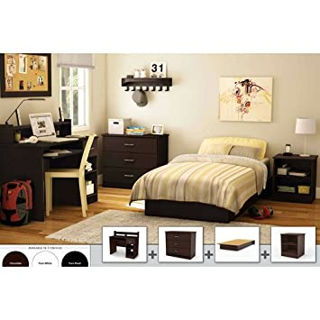 South Shore 4-piece Bedroom Furniture Set. Perfect Furniture Set for College Student or Teen Bedroom. Platform Bed, Nightstand, Dresser and Desk All Included! (Chocolate)
