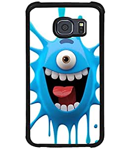 Printvisa one eyed blue monster cartoon character Back Case Cover for Samsung Galaxy S6 Edge::Samsung Galaxy S6 Edge G925