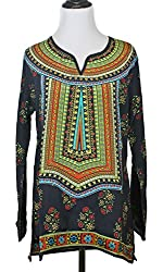Tolani Zoe Black Multicolored Silk Tunic Blouse Womens Apparel