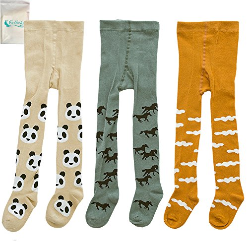 Gellwhu 3-Pack Cute Kids Girls Boys 0-3T Tights Legging Pants Warm Stockings (M (1-2 Years), 3-Pack B)
