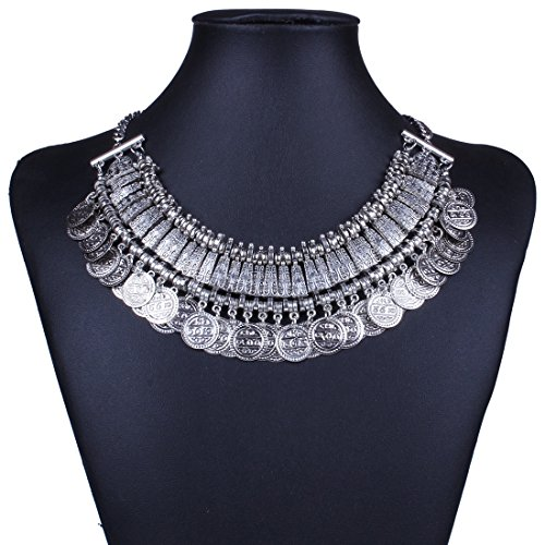 Qiyun (TM) Chunky Punk Tribal Retro Antique Silver Coins Plated Alloy Bib Choker Necklace