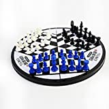 Portable Three Players International Antique Chess Set Mini Folding Magnetic Puzzle Board Fun Game Toys for Children