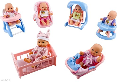 WolVol Set of 6 Mini Dolls with Cradle, High Chair, Walker, Swing, Bathtub, Infant seat