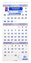 AT-A-GLANCE PM1128 Vertical-Format Three-Month Reference Wall Calendar, 12 1/4 x 27, 2015-2017