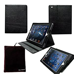 Bear Motion ® 100% Genuine Leather Folio Case for iPad 2 / iPad 3 / the New iPad With Multiple Viewing Angels for iPad3 (Smart cover function does NOT work on iPad3)- Black MP