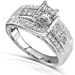 7/8ct TW Princess Diamond Engagement Ring in 14k White Gold - Size 5.5