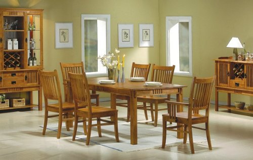 7pc Mission Style Solid Hardwood Dining Table & 6 Chairs Set