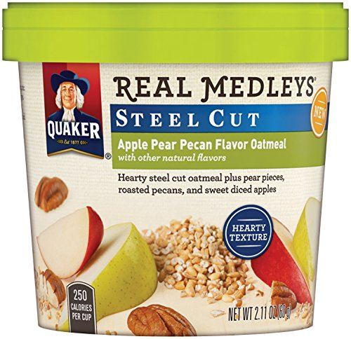 Quaker Real Medleys Instant Oatmeal, Steel Cut, Apple Pear Pecan, Breakfast Cereal, 2.11oz Cup (Pack of 12 Cups) (Single Serve Steel Cut Oats compare prices)