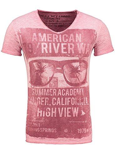 key-largo-t-shirt-t-river-way-grun-v-ausschnitt-vintage-printshirt-rot-l
