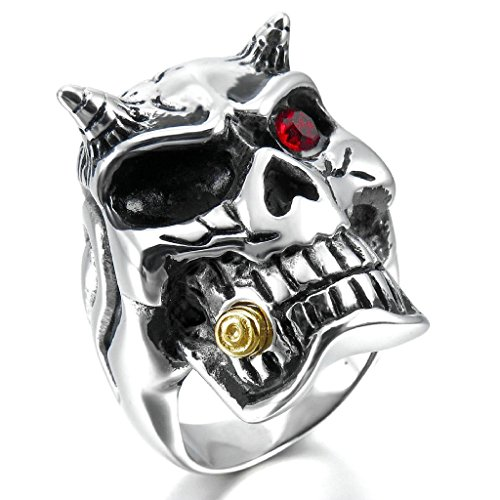 Epinki,Fashion Jewelry Men's Large Stainless Steel Rings CZ Silver Black Gold Red Devil Skull Gothic Biker Size 8 (Oster Red Guards compare prices)
