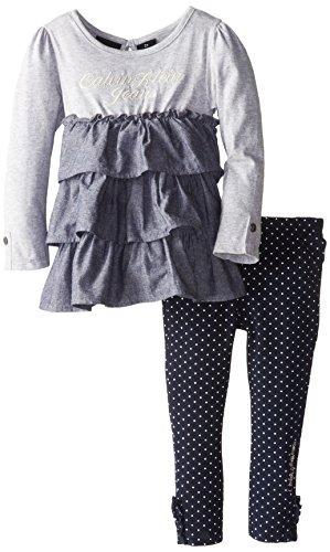Calvin Klein Little Girls' Mixed Fabric Tunic Set, Light Gray Heather, 6 front-977828