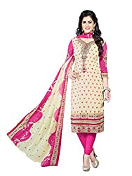 PShopee Pink Synthetic Printed Salwar Suit Dress Material