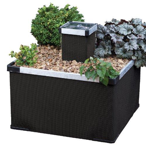 Blagdon Blumentrog, Aluminium und Polyrattan, für Garten und Terrasse, Schwarz