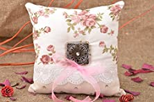 buy Handmade Designer Ring Bearer Pillow Sewn Of Floral Cotton Fabric With Lace