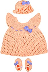 Kuchipoo Baby GirlsCrochet woolen set for 3 to 9 months