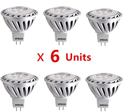 Xpeoo® 6Pcs 6W Mr16 Gu5.3 Base Super Bright Led Light Equivalent To 50W Halogen Bulb Recessed Tracking Lamps Spotlight Down Lamp Energy Saving Effect Of Philips Ac Dc 12V - Mr16 Natural White