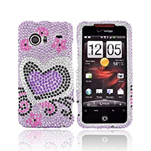 For HTC Droid incredible Bling Case Hard HEARTS PURPLE