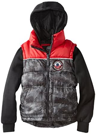 Weatherproof Big Boys' Bubble Vest with Attached Jersey Hood and Sleeves, Black Houndstooth, 8