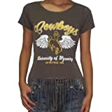 Womens NCAA Wyoming Cowboys Crew-Neck T-Shirt with Fringe
