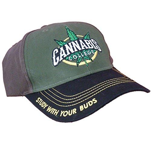 Cannabis-420-Marijuana-Themed-Ball-Cap-Hats-One-Size-Cannabis-College-Green-Front